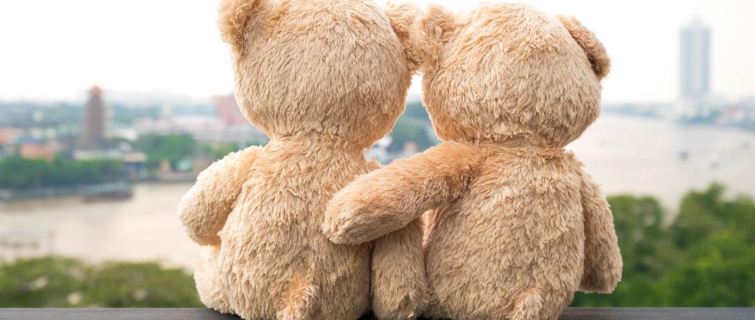 Teddy bears hugging as they overlook city